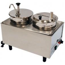 Dual Well Food Warmer - 1 Pump & 1 Ladle & Lid